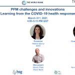 HSR Event on March 31, 2021: PFM Challenges and Innovations